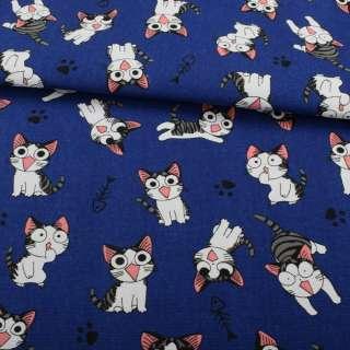 Деко-котон синій, сіро-біле кошеня Чи, ш.150 оптом