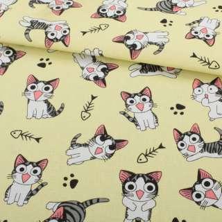 Деко-коттон желтый светлый, серо-белый котенок Чи, ш.150 оптом