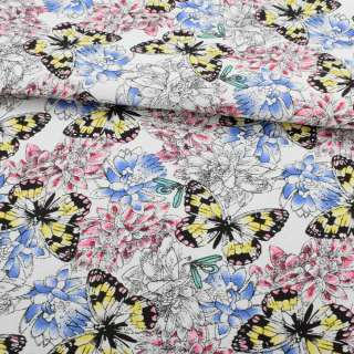 Деко-коттон белый, розовые, голубые цветы, желто-черные бабочки, ш.150 оптом