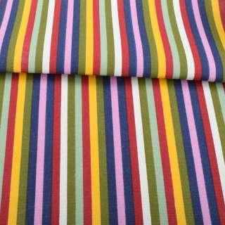Деко-коттон красно-белые, желто-оливковые, сиренево-синие полоски, ш.150 оптом