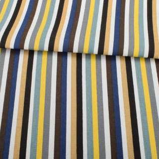 Деко-коттон желто-серые, бело-синие, бежевые полоски, ш.150 оптом