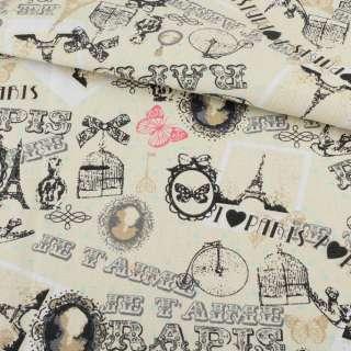 Деко-котон кремовий, метелики, листівки, Paris, ш.150 оптом
