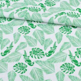 Деко-котон білий, зелені тропичні листя, папуги, ш.150 оптом