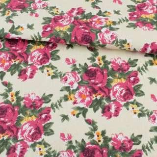 Деко-котон кремовий, малинові троянди, ш.150 оптом