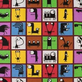 Деко-котон кольорові квадрати з чорними монстриками, ш.150 оптом