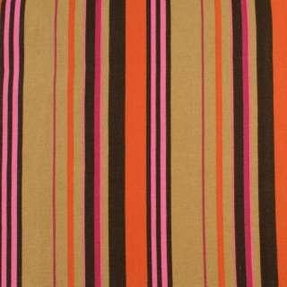 Деко-котон бежево-коричневі, оранжево-малинові смужки, ш.150 оптом