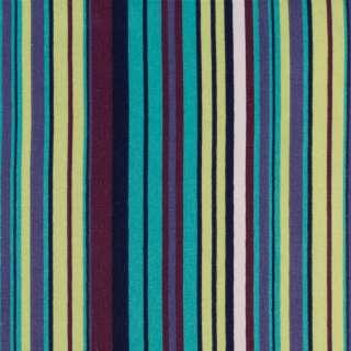 Деко-котон бірюзовий в салатові, сині, фіолетові смужки, ш.150 оптом
