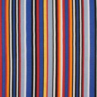 Деко-коттон синие, черно-белые, красно-желтые полоски, ш.150 оптом