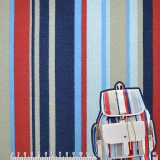Деко-котон синьо-блакитні, бежево-червоні смужки ш.150 оптом