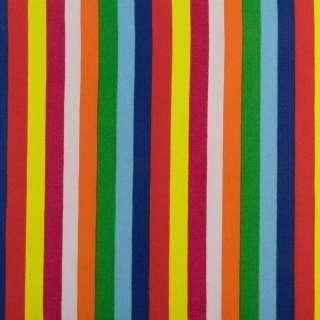 Деко-коттон оранжевые, зеленые, сине-голубые+красные полоски ш.150 оптом