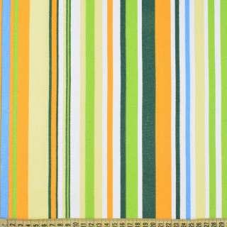 Деко-коттон желто-зеленые, бело-голубые полоски ш.150 оптом