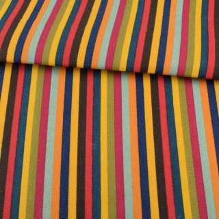 Деко-котон сине-жовті, коричнево-червоні, зелено-малинові смуги ш.146 оптом