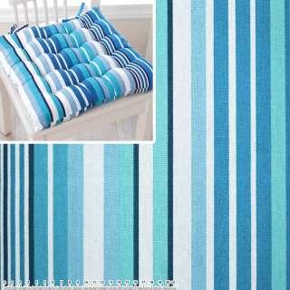 Деко-котон в бірюзово-блакитну, синьо-білу смужку ш.150 оптом