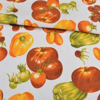 Деко-котон білий, помаранчеві овочі, ш.150 оптом
