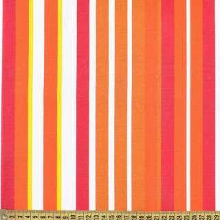 Деко-коттон коричнево-белые, бордово-оранжевые полоски ш.150 оптом