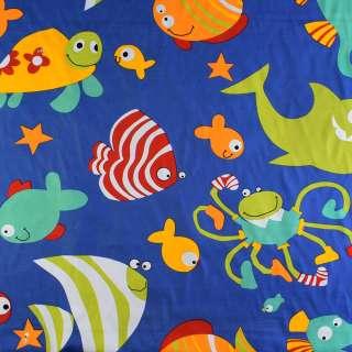 Деко-котон синій акваріум, ш.150 оптом