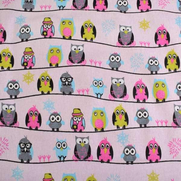 Деко-лен розовый в совы на полосах ш.145 оптом