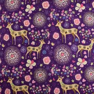 Деко-лен фиолетовый в цветы и олени ш.145 оптом