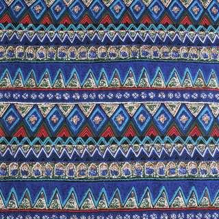 Деко-льон синій в зелено-блакитні смуги і візерунки ш.150 оптом