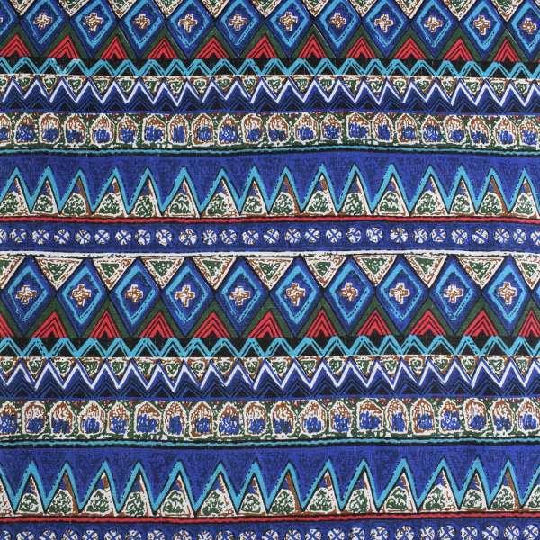 Деко-лен синий в зелено-голубые полосы и узоры ш.150 оптом