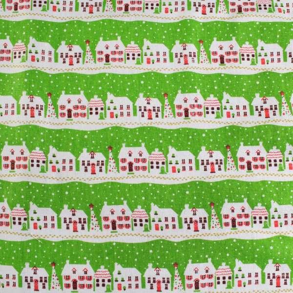 Деко-лен салатовый в полосы бело-красных домиков ш.150 оптом