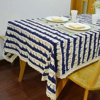 Деко-лен синий темный в полосы бело-бордовых домиков ш.150 оптом