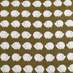 Деко-лен зеленый (оливковый темный) в белые ежики ш.150