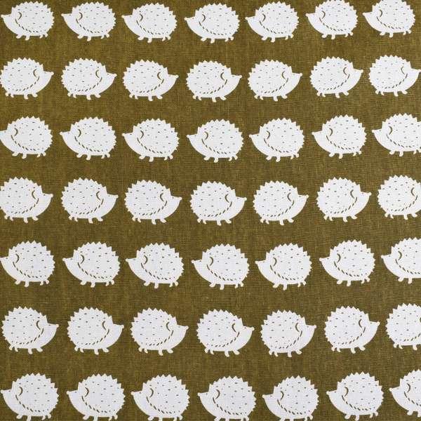 Деко-лен зеленый (оливковый темный) в белые ежики ш.150 оптом