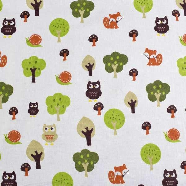 Деко-лен молочный в совы, лисички, деревья ш.150 оптом