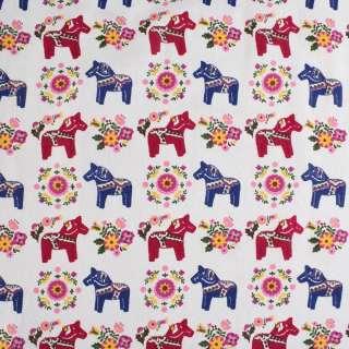 Деко-льон молочний в синьо-бордові конячки, квіти ш.150 оптом