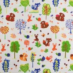 Деко-лен молочный в птички, лисички, белочки, деревья ш.150