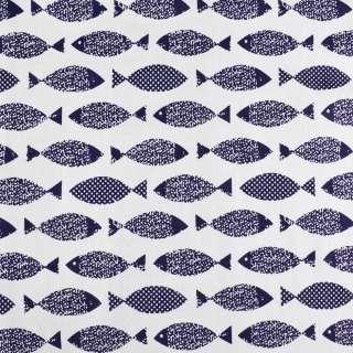 Деко-льон білий в темно-сині рибки ш.145 оптом