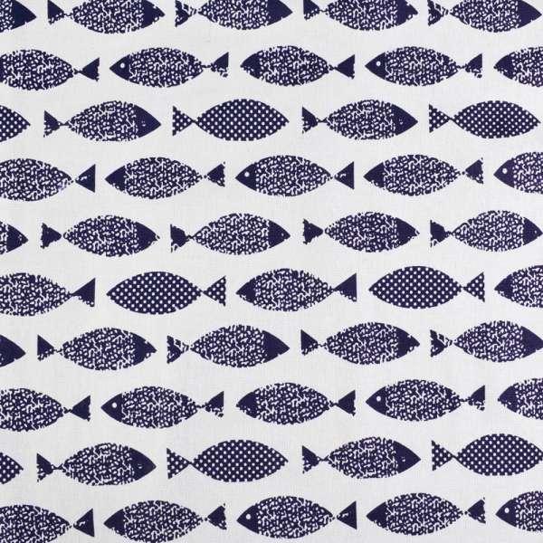 Деко-лен белый в темно-синие рыбки ш.145 оптом
