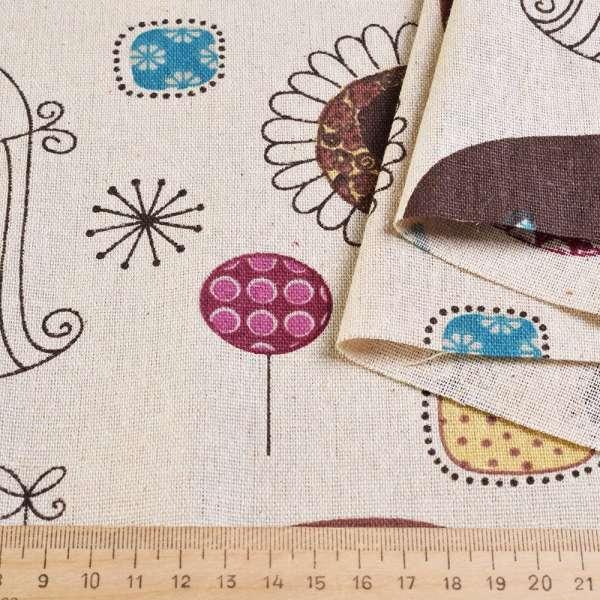 Деко-лен песочный в коричневые круги, совы, клетки ш.150 оптом