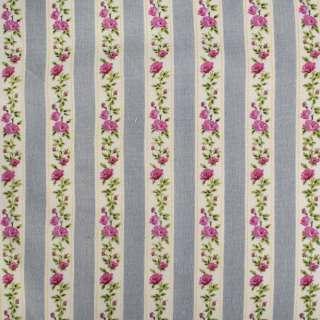 Деко-лен серый в бежево-зелено-розовую тесьму в цветы ш.150 оптом
