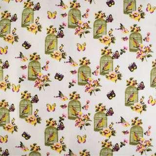 Деко-льон молочний в метелики, квіти, клітини з пташками ш.150 оптом