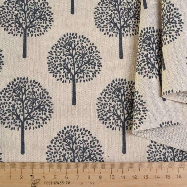 Деко-лен бежевый в серые деревья ш.152 оптом