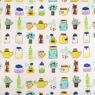 Деко-льон молочний в жовто-зелені баночки і квіти ш.150 оптом