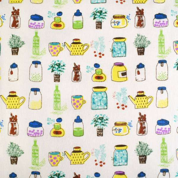 Деко-лен молочный в желто-зеленые баночки и цветы ш.150 оптом