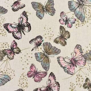 Деко-льон бежевий в сірі, рожеві метелики, ш.150 оптом