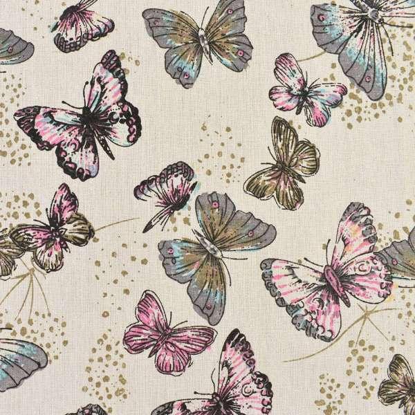 Деко-лен бежевый в серые, розовые бабочки, ш.150 оптом