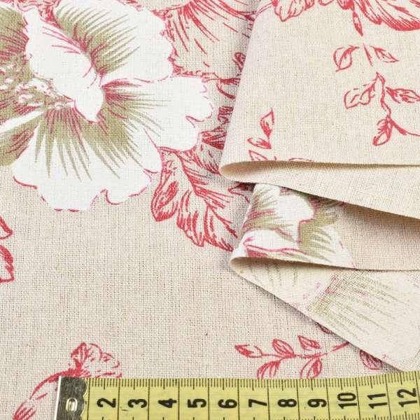 Деко-лен бежевый в малиново-белые цветы, ш.150 оптом