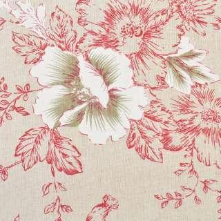 Деко-льон бежевий в малиново-білі квіти, ш.150 оптом