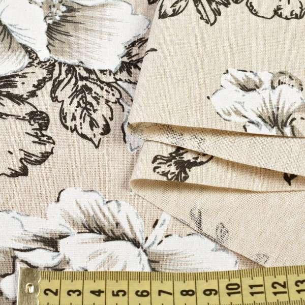 Деко-лен бежевый в черно-белые цветы, ш.150 оптом