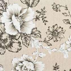 Деко-лен бежевый в черно-белые цветы, ш.150