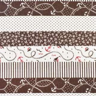 Деко-лен молочный в коричневые полосы с якорями, ш.150 оптом