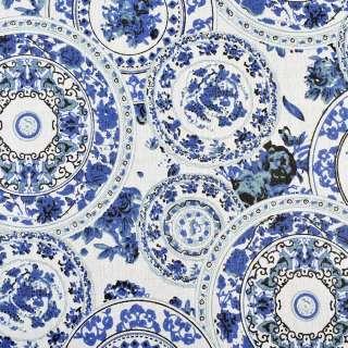 Деко-лен молочный в круги с синими узорами, ш.150 оптом