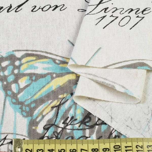 Деко-лен молочный в бирюзово-желтые и серые бабочки, ш.150 оптом