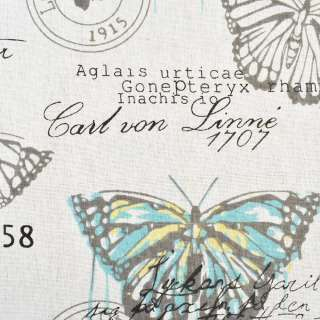 Деко-льон молочний в бірюзово-жовті і сірі метелики, ш.150 оптом