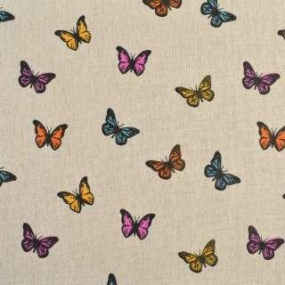 Деко-лен бежевый в разноцветные бабочки, ш.150 оптом